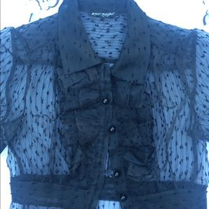 Vtg sheer ruffle puff sleeve goth shirt